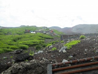 Looking up at the various huts on Mount Fuji
