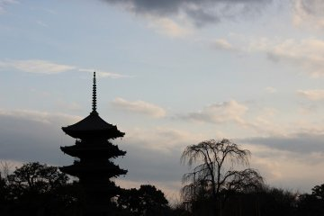The five-story pagoda is impressive even at sunset