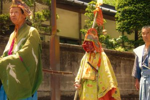 Some processionersdon masks representing Shinto spirits common in the regional history of Nikko.