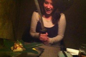 A japantravel.com contributor enjoying her meal at Ninja Akasaka