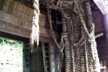 Giant straw sandals in the gatehouse