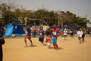 Spider Man, little kids, big kids, anyone can run the shorter races