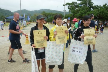 Collecting my second place finishers certificate and prize