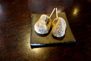 Warabi mochi with kinako (see the article for an explanation)