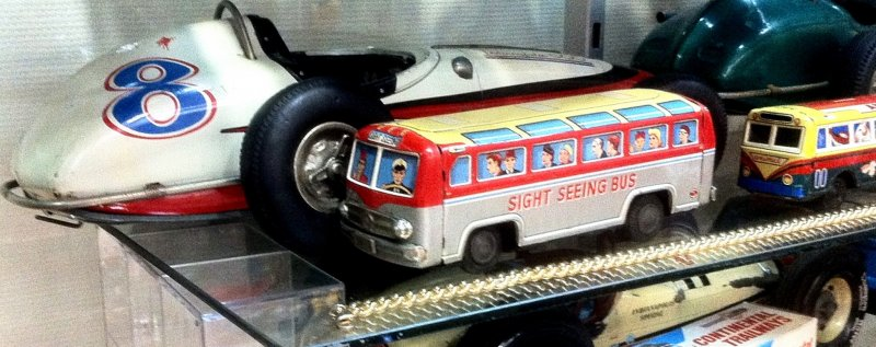 Tin Sightseeing Buses and Racing Cars from Japan USA Italy