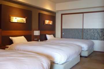 <p>The beds in our Japanese style room, all very, very comfortable!</p>