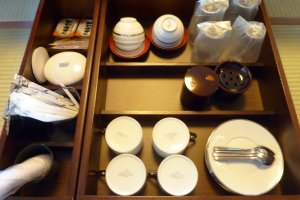 Upon entering our room, tea and coffee were waiting for us, plus a few Japanese sweets to enjoy it with
