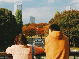 Sepasang kekasih yang menikmati sore di Taman Yoyogi