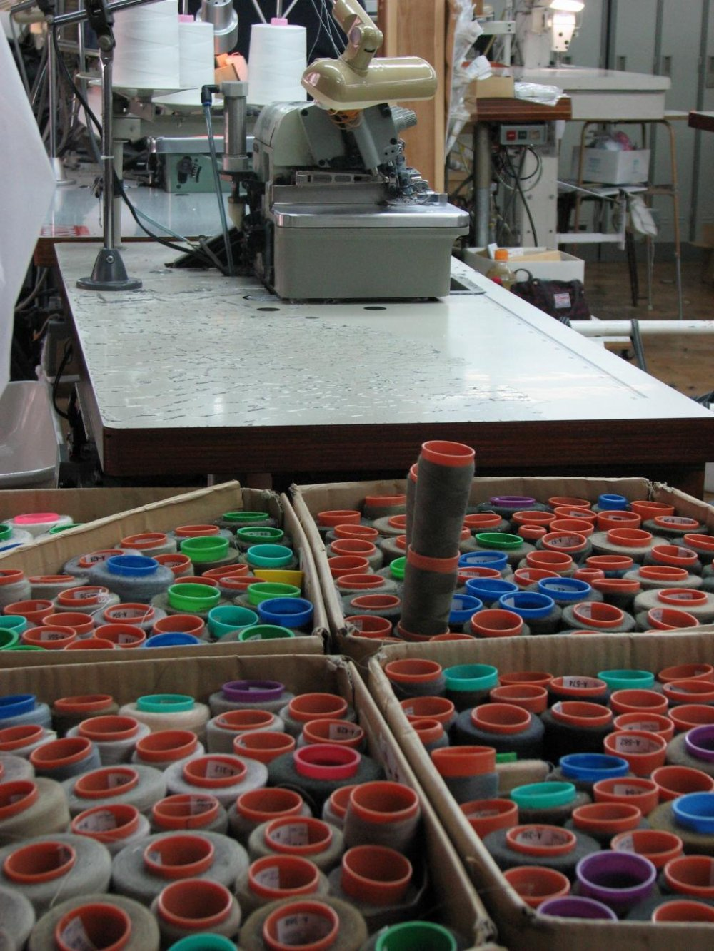 The colors of cotton in a jeans textile company.
