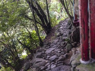 As you travel along the path, don't get so swept up in the beauty and antiquity that you lose stability. This photo is an example of how narrow the pathway can get. At this point, there is no railing to support you if you fall, so take care!