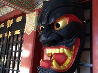 This is a large, carved Furyumen mask. These masks are an important cultural asset to Saga and are utilized by specific participants in various harvest rituals. You will see one at Saga Station as well.