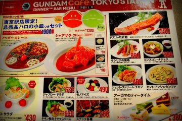 <p>Menu please... Indulge in their fancy dishes with Gundam-inspired garnishes. Just by looking at the menu, you will enjoy their robotic-themed dishes.</p>