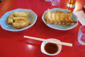 Delicious gyoza! Deep-fried on the left; pan-fried on the right