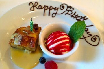 <p>We were celebrating another birthday and Ruth&#39;s Chris kindly presented us with a personalized dessert plate!</p>