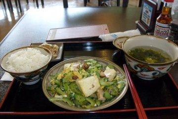 Goya Chanpuru in the information center restaurant. Tasty.