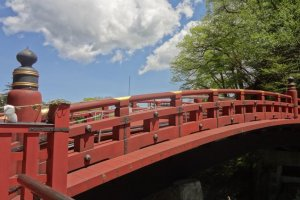 """The famous red bridge near the rear approach to Rin-noh-ji temple and Tosho-gu shrine is called Shin-kyo (神橋). It means """"bridge of God""""."""
