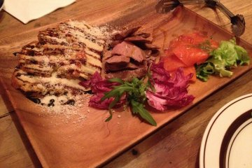<p>Foie-gras omelette, chicken liver and salmon sashimi plate</p>