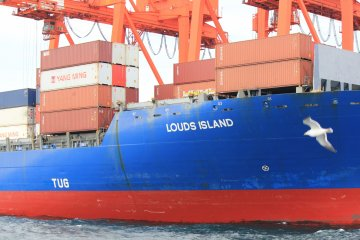 <p>This vessel was in the process of&nbsp;offloading the large shipping containers</p>