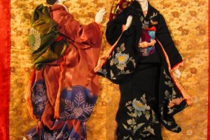 A famous Japanese painting made from old kimono silk