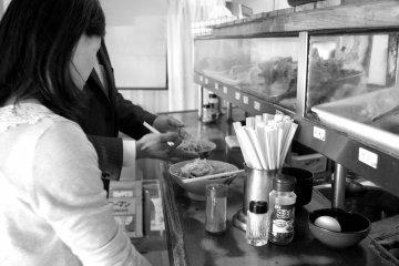 <p>Hungry customers seconds before they started eating! Itadakimasu</p>