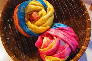 You can also make or buy tie-dyed silk scarves
