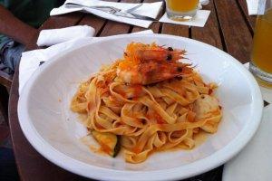 Fettucini shrimp and calamari
