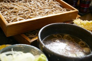 Close up to the soba and the chicken soup