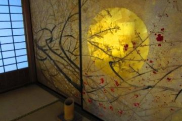 A wall-screen depicting the moon