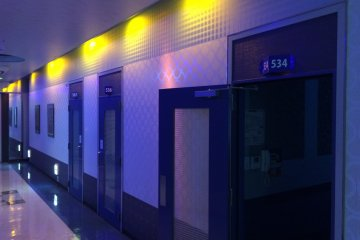 <p>One of the mysterious hallways leading up to your private karaoke room</p>