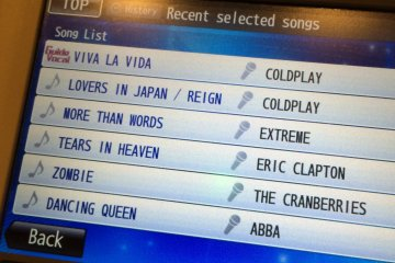<p>From the &quot;History&quot; button, you can review recent song selections</p>