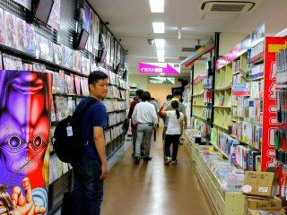 There are over 170,000 local Japanese literary works, arranged by category on rows and rows of shelves that ran the whole way from the floor up to the ceiling