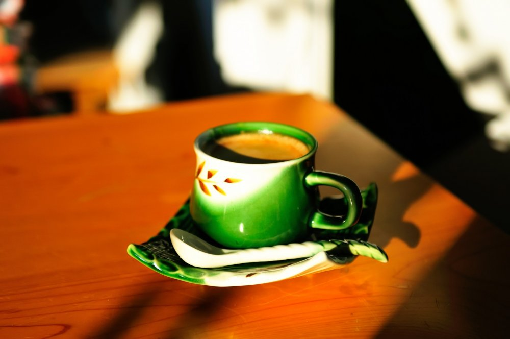 Enjoy a cup of coffee in the cafe before dinner