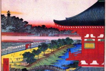 Zojo-ji as depicted during the Edo era, in a Ukiyo-e by Hiroshige.