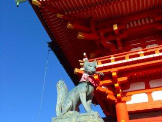 Одна из лис, которые охраняют вход в храм
