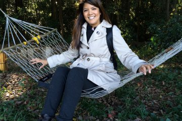 <p>Take a break on the tree house hammock</p>
