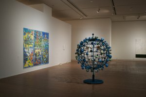 Nobuaki Takekawa's 1977 'A Globe of Superstition' (Right) and 2012 'Watercolor' on paper and map (left)