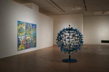 <p>Nobuaki Takekawa&#39;s 1977 &#39;A Globe of Superstition&#39; (Right) and 2012 &#39;Watercolor&#39; on paper and map (left)&nbsp;</p>