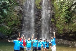 Student group enjoying the waterfall area