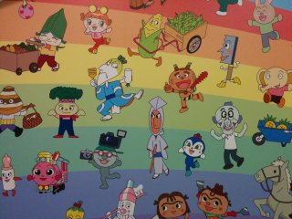 There are many characters in the Anpanman anime. There are some of them on this wall