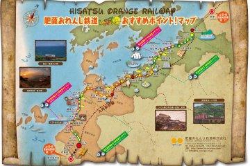 <p>ภาพเส้นทางการเดินรถของ&nbsp;Hisatsu Orange Railway (肥薩おれんじ鉄道)</p>