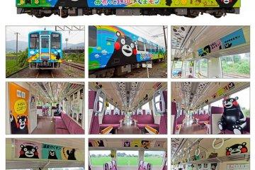 <p>ตัวอย่างขบวนรถไฟคุมะมงที่ตกแต่งอย่างสวยงามน่ารักทั้งขบวน</p>