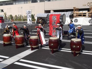 Taiko drummers giving it some energy