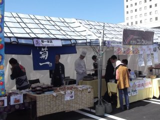 Some of the stands selling hot food and drinks