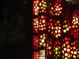 Some of the lanterns feature themed carvings such as these in the shapes of various leaves.