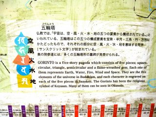 """""""Gorinto"""" is a five-story pagoda symbolizing the 5 elements of the universe in Buddhism: Earth, Water, Fire, Wind, and Space."""