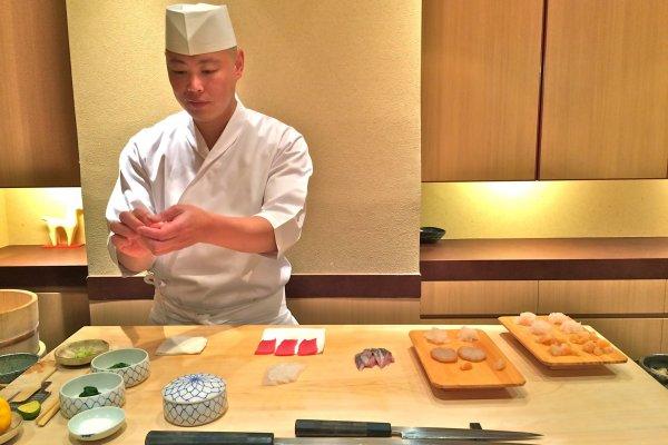Master Chef Hisayoshi Iwa in action at Sushi Iwa, Ginza, Tokyo.