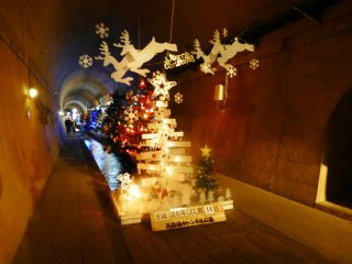 A different kind of Christmas display can be found in the Yusui Tunnel Park in Takamori