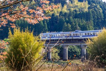 <p>A southbound train leaves Uchi Umi station</p>