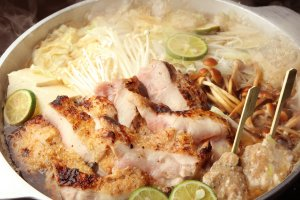 Grilled chicken and chicken meatball hotpot with sudachi