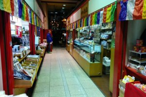 The alley leading to the temple is lined with shops